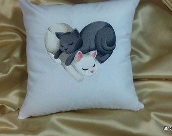 entwined Cat heart Embroidered  pillow