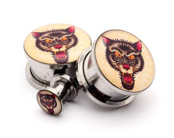 Wolf Picture Plugs gauges - 16g, 14g, 12g, 10g, 8g, 6g, 4g, 2g, 0g, 00g, 7/16, 1/2, 9/16, 5/8, 3/4, 7/8, 1 inch
