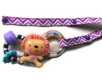 Toy Leash, Sippy Cup Strap, Pacifier Saver -- Purple and Pink Chevron