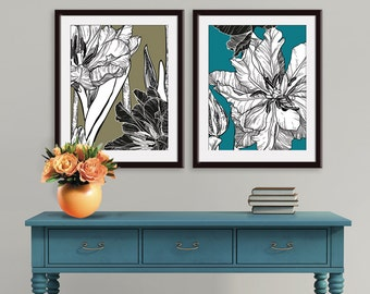 Modern Botanicals - Spring Flowers - Set of 2 - Art Prints  (Featured in Black on Dried Herb and Biscay Bay) Botanical Art Print