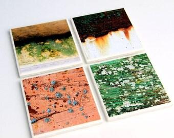 Coaster Set, Rust and Moss, Green, Orange, Yellow,Industrial Design, Set of 4, Ceramic Tile