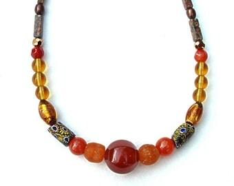 "antique AFRICAN TRADE beads,Venetian MILLEFIORIS,17 1/2"" necklace,carnelian,Ghana Krobo glass,Murano foil,rust,apricot,gold,amber,bronze"