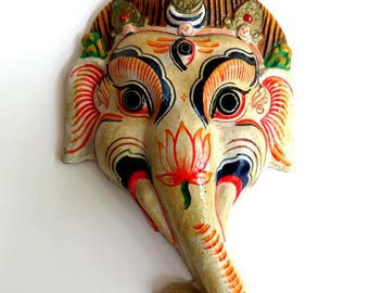 "vintage MASK NEPAL GANESHA, 12 1/2"" elephant god, papier mache Hindu deity,South Asia,red,navy,ivory,green,flower,yellow,orange,hand painted"