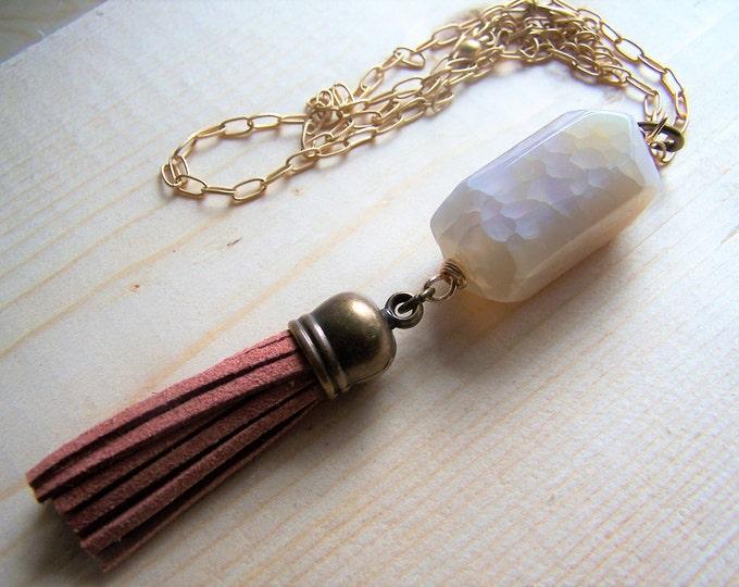 Boho necklace, stone necklace, bead necklace, simple boho necklace, boho pendant, boho jewelry, gift for her, Statement necklace