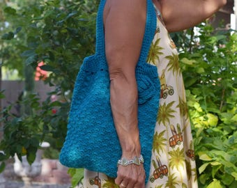 Crochet tote cotton teal reusable avoska with crochet rose natural beach farmers market boho bohemian gift for friend summer bag book bag