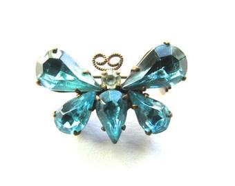 Vintage Blue Rhinestone Butterfly Pin Brooch Insect Morpho Czech Brass