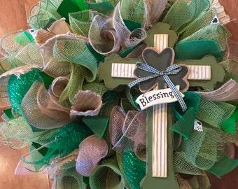 Ready to Ship st. Patrick's Day Wreath with Cross , Irish Wreath , Green Cross Wreath