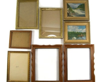 Wooden Picture Frames Collection of Eight Vintage Wood Frames