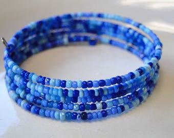 Sky blue beaded coil wrap bracelet, memory wire