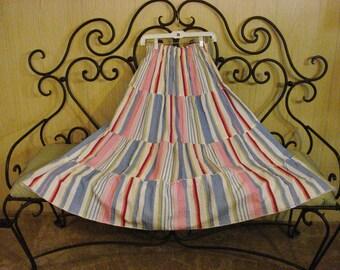 Long Full Seersucker Stripped Cotton Skirt Summer Clothes M- XL