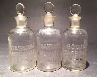 Vintage apothecary bottles with original stoppers 3 Whitehall Tatum Co