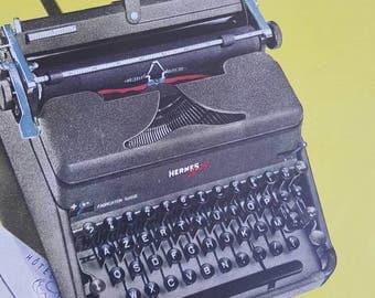 Vintage 1950s HERMES Typewriter French Magazine Advert Art | yellow advertising illustration magazine page | mechanical typewriter image