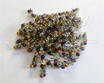 Jewel Tone 6mm Mushroom Bead Mix, 40 Beads Per Strand, Transparent Citrine, Rose Quartz, Amethyst, Light Sapphire And Peridot