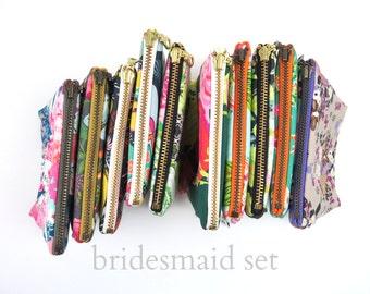 6 Bridesmaid Set Ity-Bity Zipper Pouch -Makeup bag, cosmetic case, zipper pouch, clutch, essential oil bag