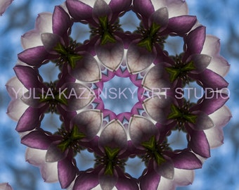 Instant Digital Download Magnolia Flower Mandala Art. Printable Mandala. DIY home decor. Digital Design. Meditation Print. Floral mandala.