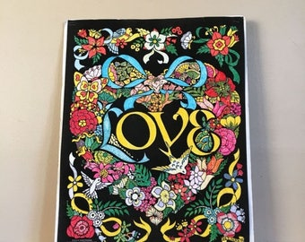 Holiday Sale. Vintage 1980s LOVE Velvet Poster by Fuzzy Posters. Western Graphics Corp. Made in USA.