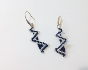 Earrings in Jet Black and Snowy white with silver lined crystal tips