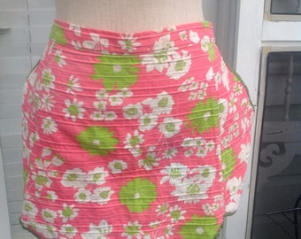 Vintage pink and green floral apron.