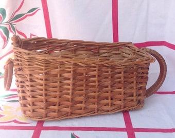 SPRING SALE Vintage wicker wine serving storage basket.