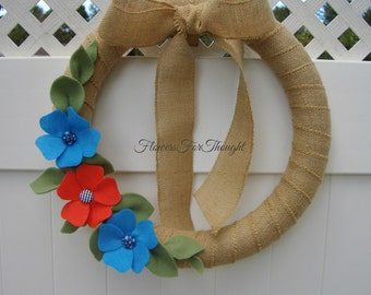 Fabric Button Flower Wreath, Burlap Felt Front Door Decoration, Fall wreath, Blue and orange home decor