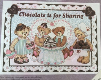 Daisy Kingdom Iron-on Transfer #0116-04005, Chocolate is for Sharing Teddy Bears, T-shirt or Tote Bag Iron On,  Craft Supply Unused, 90s