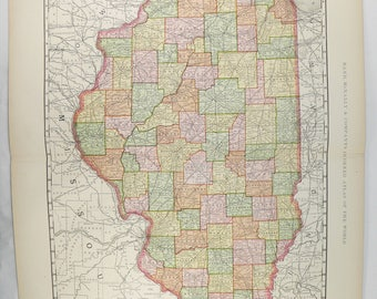 Large Wall Map Illinois 1897 Vintage Illinois Map, Old County Map Illinois State Map, Illinois Gift for Teacher, Man Cave Guy Gift, IL Map