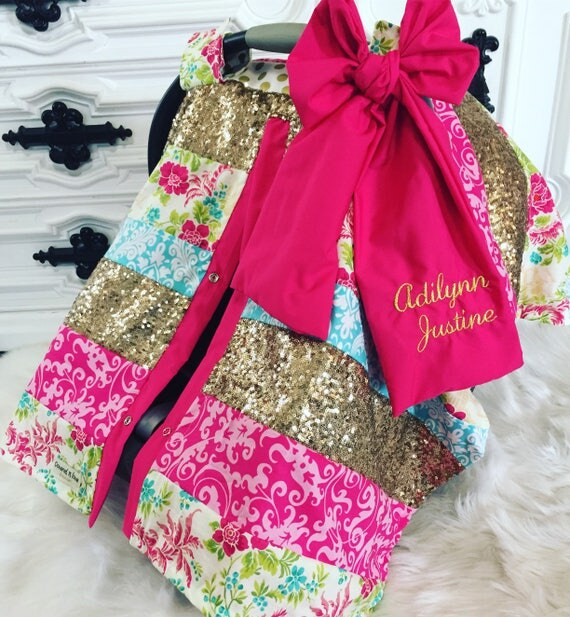 CAR SEAT COVER , custom patchwork , gold sparkle , gold car seat canopy , comes with jumbo bow and name , custom design you pick fabrics