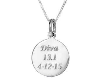 "Custom Personalized Engraved Round ""Finisher Charm"" Necklace"