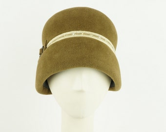 Tobacco Brown Cloche Hat for Women, Vintage Hat Style 1920s Fashion Hat, Felt Hat Winter Hat, Millinery Hats, Downton Abbey Hat, Flapper Hat