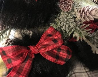 Set of 3 Black Bear Faux Fur Christmas Tree Ornament with Red and Black Plaid Bow, Country Christmas Tree Ornaments