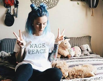 Wage Peace Shirt - Unisex Short Sleeve Tee - Men's, Unisex, Women's Tshirt - Peace Shirt - Peaceful - White - Created by Braymont Designs