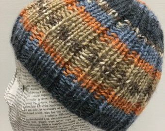 Baby Toddler Boys Knit Hat, 6-24 Months, Blue, Orange and Tan striped hat