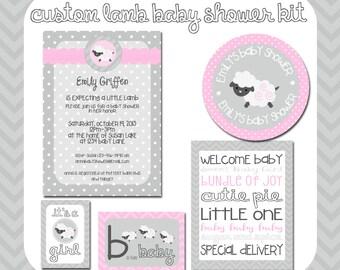 Lamb Baby Shower Printable Kit, Custom invitations, Sheep, Girl Baby Shower, Lamb Party