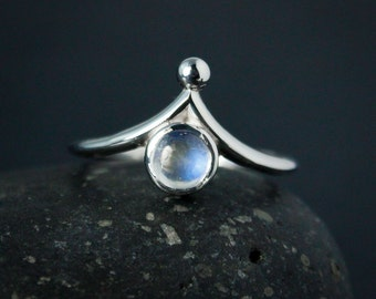 Rainbow Moonstone Crown Ring - Index Finger Moonstone Ring - Choose Your Choose