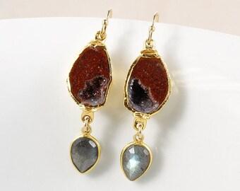 50 OFF SALE Tabasco Druzy Dangle Earrings – Blue Labradorite