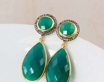 CHRISTMAS SALE Gold Green Onyx and Pave Diamond Earrings – Glamour Earrings