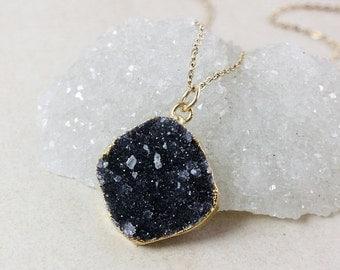50 OFF SALE Black Druzy Pendant Necklace – Choose Your Druzy – Organic Round/Oval Cut
