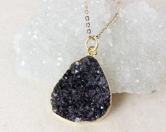 50 OFF SALE Black Druzy Pendant Necklace – Choose Your Druzy – 14K Gold Fill