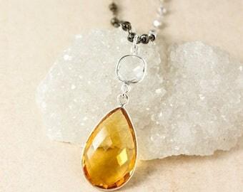 20% OFF SALE Crystal Quartz & Yellow Citrine Quartz Teardrop Necklace - Metallic Pyrite Chain - Layering Necklace