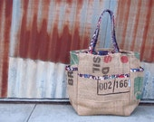 Barista Chic Upcycled Burlap Tote - Coffee Bean Burlap Sack and Fabric Shopper - Coffee Bag Love - OOAK Holiday Unisex Eco Gift - Vegan Fun