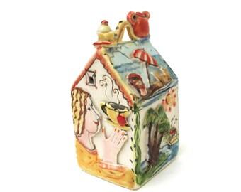 vintage hand made spirit house  ...  tiny ceramic box  ...   vacation home