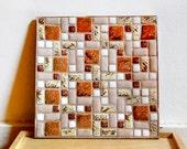 Vintage Mid Century Mosaic Ashtray Pink Gold and Orange Tiles Modern Home Decor Tray.