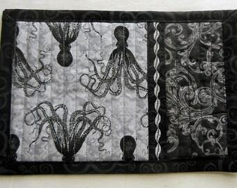 Gray and Black Octopus Mug Rug