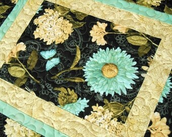 Quilted Table Runner with Flowers and Butterflies in Aqua Cream and Black, Floral Table Runner, Hydrangeas and Gerbera Daisies