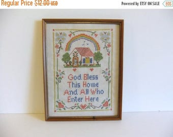 50% off Sale ON SALE Vintage Embroidered Wall Hanging God Bless this Home
