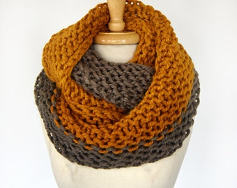 SAMPLE SALE -Color Block Infinity Scarf in Taupe/Pumpkin - Fall, Warm & Cozy, Accessories, Sale, Clearance, Shawl