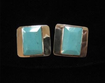 Taxco Sterling Turquoise Vintage Earrings