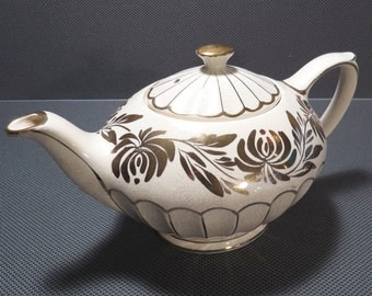 Sadler Gold and White Floral Genie Teapot Vintage 1950s Mid Century Tea Pot