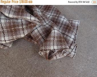 SALE SALE SALE Vintage Fabric Wool Plaid Tartan Taupe Brown Cream Amazing Quality Sewing Supplies Yardage
