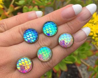 NEW Mermaid Earrings, Vintage Brass Stud Post Earrings, Scale Earrings, Dragon Scales,Ocean, Beach, Rainbow, Costume, Vintage Mermaid Rustic